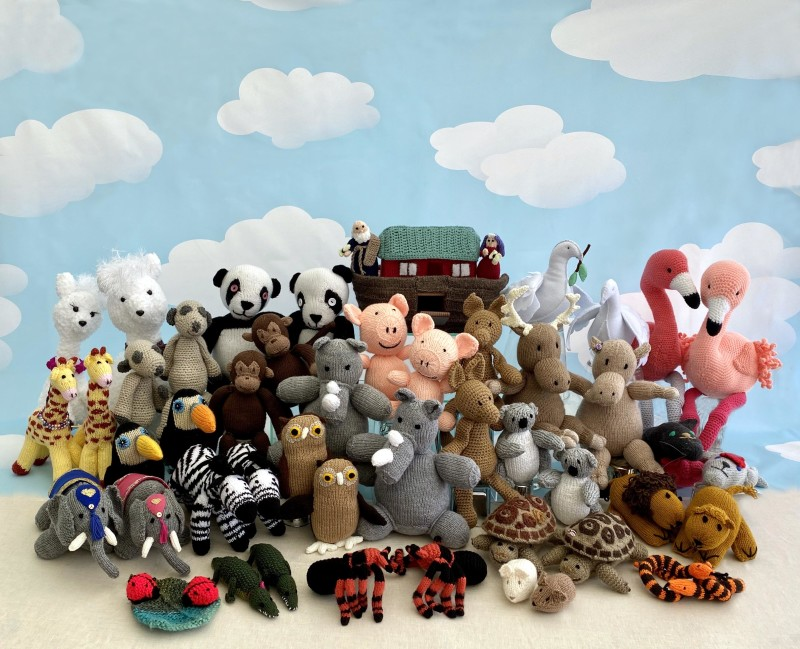 Image of all the Noah's Ark knitted animals