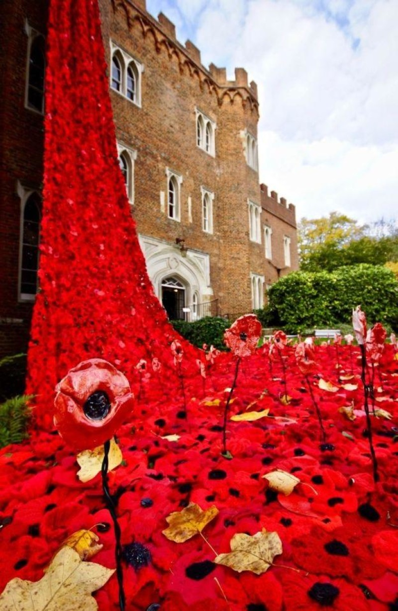 Poppy installation at Hertford Castle