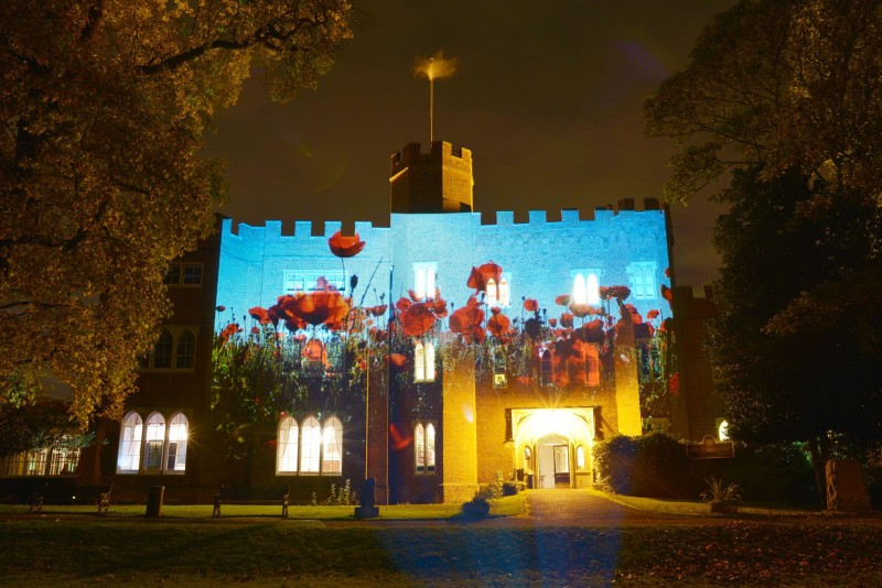 Hertford Castle with Poppy Field Projected